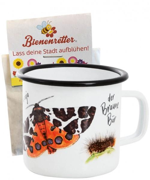 "Emaille-Tasse ""Brauner Bär"" inkl. Blühsamenmischung, 300 ml"